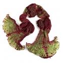 Foulard en soie Abysses, vert et bordeaux