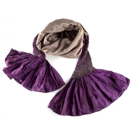 Foulard en soie Shadows, violet et vieux rose