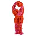 Foulard en soie Abysses, orange et fushia