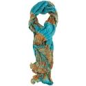 Foulard en soie Abysses, turquoise et safran