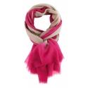 Chèches Chic en coton sable et rose fluo