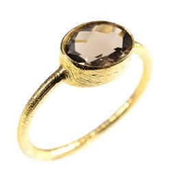 "Rings ""Drop"" Smokey Quartz, 925 Silver and 3µ Gold"