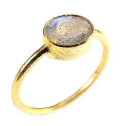 """Rings """"Drop"""" Labradorite 925 Silver and 3µ Gold"""