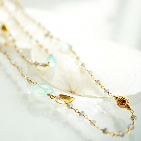 "Sautoir ""Ani"" Labradorite & Aqua Chalcy"