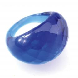Bague Glassy Bleu océan translucide
