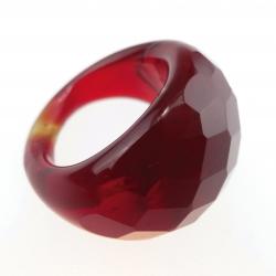 Bague Glassy Rouge Grenat translucide