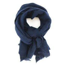 SCARF WOOL AND SILK - INDIGO
