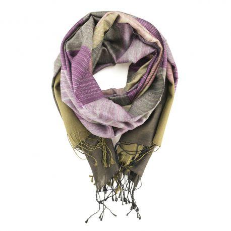Écharpe en Laine tissée et Soie, Bronze & Purple