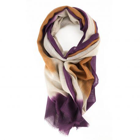 Écharpe Tie & dye en Laine et Soie - Purple Orange