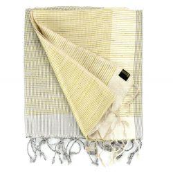 Étole en soie sauvage rayée gris et jaune