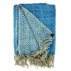 Étole en soie sauvage Sable & Turquoise