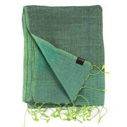 Étole en soie sauvage vert et violet