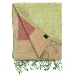Étole en soie sauvage vert et rouge