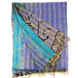 Kantha Embroidered Silk Plaid - n°2