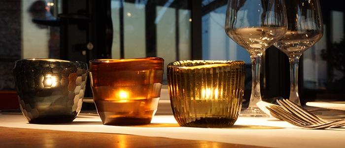 Vases et photophores en verre soufflé