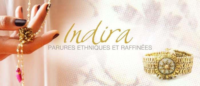 Indira, bijoux en laiton, perles et fil de coton
