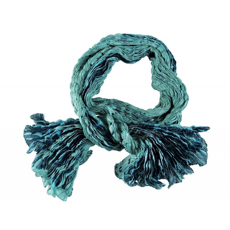 Foulard en soie Waves, emeraude et turquoise a82c6ed8b6b