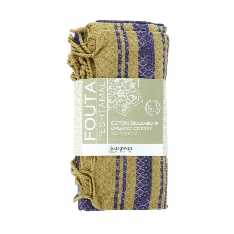 """foutas """"sand"""" indigo organic cotton, 100x200 cm"""